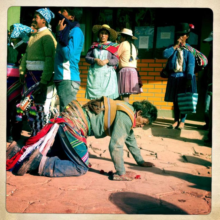 Macha, Potosì department, Bolivia. May 2014. The fight is over for this campesino. His blood that was spilled on the ground is supposed to fertilizes the fields. Farmers from surrounding villages gather in Macha to celebrate Tinku, the traditional festival of Pachamama (Mother Earth). According to the people of the Andes, Mother Earth demands human blood to be fertilized.