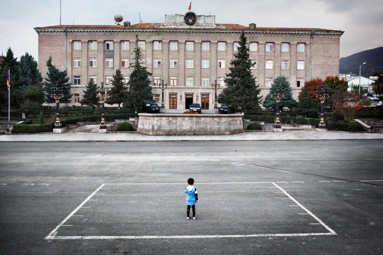 Stepanakert, Nagorno-Karabakh's capital. The building of the de facto President of the Republic. According to international analysts, corruption is one of the main causes of poverty throughout the Caucasus.