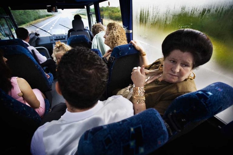The groom's family hires the bus to get the Church.