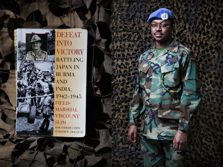 """Captain Anthony Bamford (Ghana). I like historical books. Nowadays I'm reading """"Defeat Into Victory"""", it talks about the involvement of the Ghanaian army in Burma alongside the British army during the Second World War. I would have liked to become a scientific researcher to be able to do something great for Humanity, to invent something to be remembered forever. I read ten books per year."""